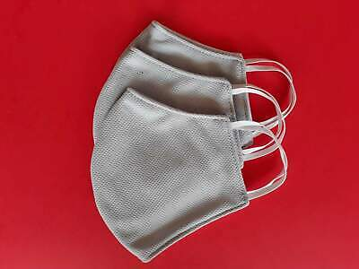 Pack of 3 reusable washable face mask gray & white color