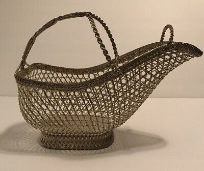 Antique French Woven Silverplate Wine Bottle Caddy Holder Table Basket