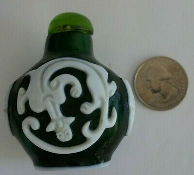 Stunning Rare Antique Chinese Green Glass White Overlay Snuff Bottle With Top!!!