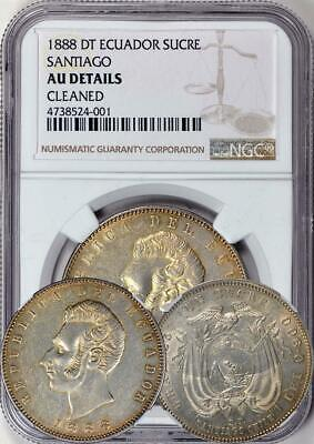 Ecuador 1888 Sucre Santiago-DT graded by NGC as AU DTLS. 2 Year type.