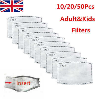 Face Mask PM2.5 Activated Carbon Filters Replace Breath Insert Mask Filter 1-50X