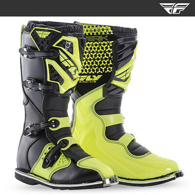 Fly Racing Maverick Motocross MX Enduro Motorrad Stiefel - Black / Hi Viz Flo