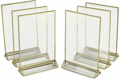 SUPER STAR QUALITY Clear Acrylic 2 Sided Frames With Gold Borders ( 6 Pack)