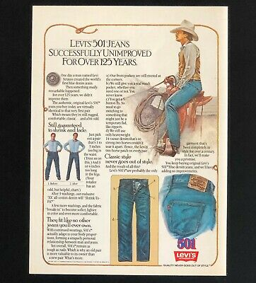 1982 Levis 501 Jeans Advertisement Cowboy Artwork Vintage Print AD