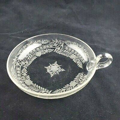 Antique Etched Glass Nappy Dish with applied Handle