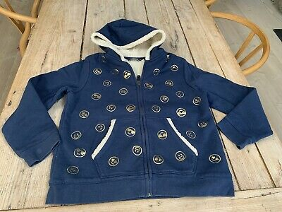 Super Cosy LANDS END Navy Blue Gold Smiley Face Fleece Lined HOODIE SWEATSHIRT