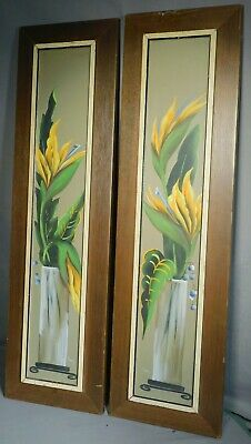 Pair MId Century Modern Painting Original Painted Mahogany Picture Frames EXOTIC