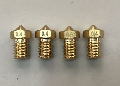 4 x anycubic 0.4mm Brass 3D Printer Nozzle Print Head M6. Threaded Nozzle.