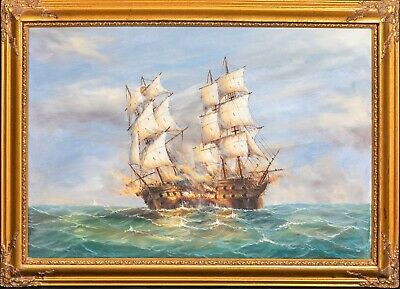 Large 20th century English Naval Battle Scene Oil Painting Signed