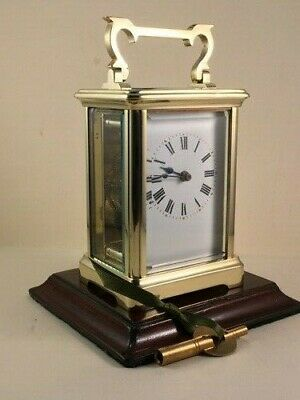 Classic antique brass carriage clock & key. Restored and serviced in May 2020.