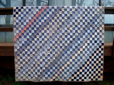 ANTIQUE QUILT PIECED  FROM 2 INCH FABRIC SQUARES -1,728 in ALL -SUGAR SACK BACK
