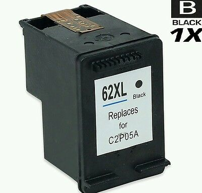 1 X Refilled Black Ink Cartridge Compatible With Hp 62 Hp 62Xl