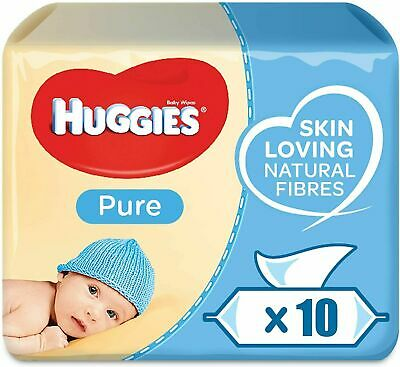 Huggies Pure Natural Water Baby Wipes 10 packs of 56