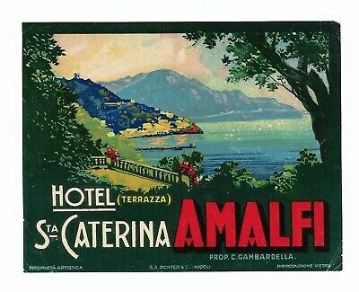 Authentic Vintage 1940s Label ~ HOTEL SANTA CATERINA ~ Amalfi, Italy (Green)