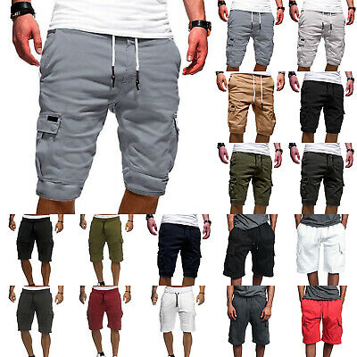Mens Cargo Shorts Pants Summer Casual Jogger Work Army Combat Trousers Elastic