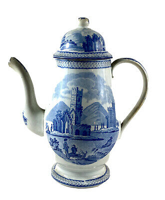 Antique Staffordshire Blue White Pearlware Coffee or Teapot and Cover Circa 1800