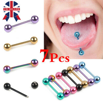 7 PCS Colorful Steel Bar Tongue Rings Body Piercing Jewelry Tounge Bars UK Stock