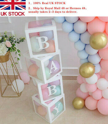 Boy Girl Baby Shower Birthday Party Decorations Transparent Cardboard Box White