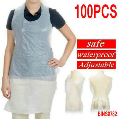 100x Waterproof Disposable Polythene Apron Healthcare Medical Body Protection