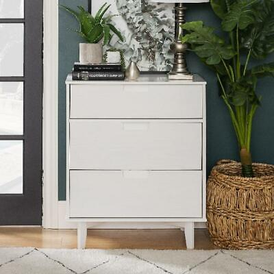 3-Drawer White Finish Dresser Home Bedroom Side Accent Cabinet Storage Furniture