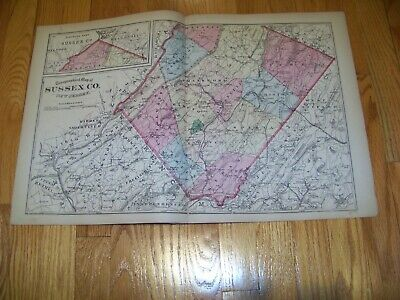 1872 Map F. W. Beers, Comstock & Cline Sussex County Central Railroad of NJ