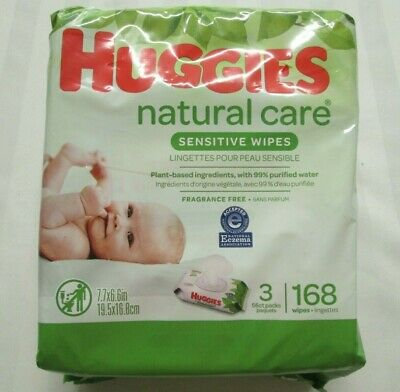 "HUGGIES Natural Care ""Sensitive"" Baby Wipes Case of 3 Packs (168 Wipes Total)"