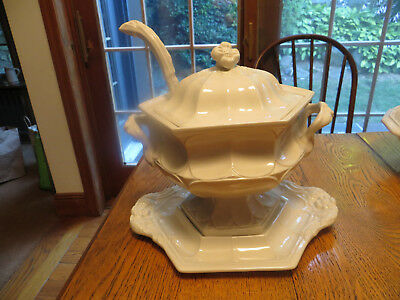 Vint Red Cliff Ironstone Soup Tureen Cover,Platter Underplate,Ladle Flower USA