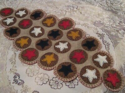 Primitive Wool Applique Americana Stars Layered Pennies Penny Rug Table Mat