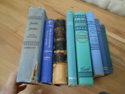 Lot OF 8 BLUE Shades of Blue  Old Vintage Antique Rare  Hardcover Books