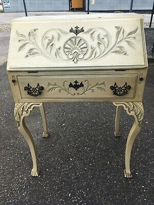Antique Secretary Desk Cottage French Provincial Carved Ornate Clawfoot Small