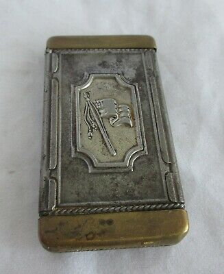 Great Antique Patriotic Match Safe Holder With American Flag And Lady Liberty