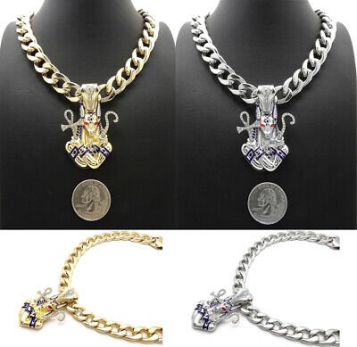 """Egyptian Anubis with Ankh Pendant 11mm/18"""" or 20"""" Cuban Chain Necklace RC3876"""