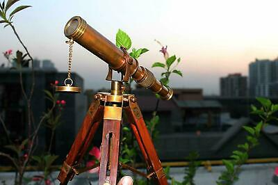 """Vintage Brass Telescope Maritime 10"""" Telescope With Wooden Tripod Stand Gift"""