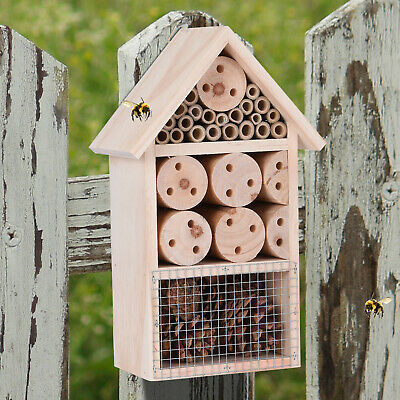 Insect Bug Bee Hotel Hanging Wooden House Ladybird Nest Wood Shelter Garden Box
