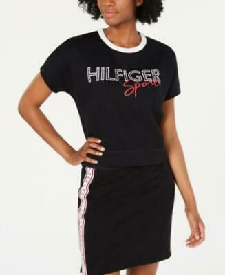 Tommy Hilfiger Women's Sport Graphic-Print T-Shirt Black Size Small S