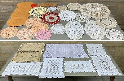 Vintage Job Lot Bundle Crochet Doilies ~ Ideal For Bunting ~ Shabby Chic