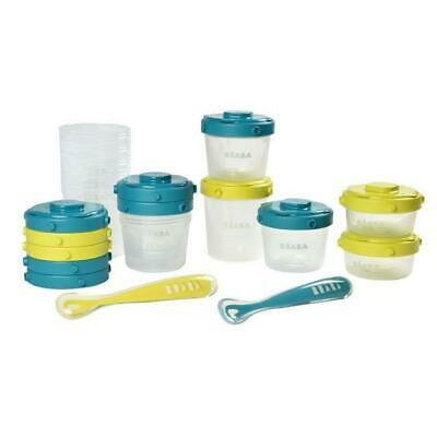 BEABA Pack 1er repas - set portions clip+cuillere 1er age silicone - neon-blue