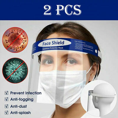 2PCS Protective Eye Full Face Mask Transparent Anti-spray Anti-splash Anti-fog