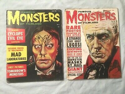 2 Early Sci-Fi Monsters of Filmland Magazine #7 and #9 Signed Zackerley