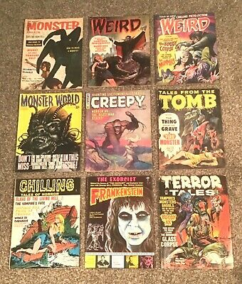 9 Sci-Fi Horror Magazines Weird #5 Monster Parade #3 Creepy #11 Terror Tales #6