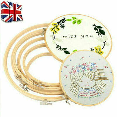 Bamboo Embroidery Cross Stitch Hoops Frame Set Wooden Hoop Rings DIY Craft UK