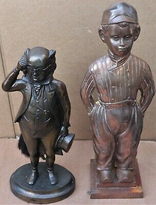 2 Old Very Detailed Good Looking Metal Figural Companion Set Stands To Clean Up