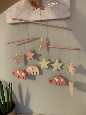 Pink Elephants and Stars Wooden Baby Girl Mobile