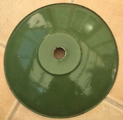 Vintage French Green Enamel LARGE Loft Coolie Porch Shade  Light Lamp 12Inch.