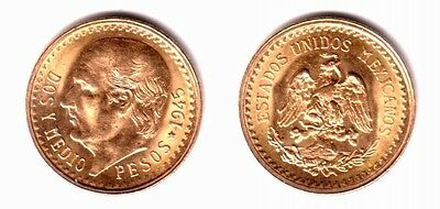 Mexico Gold 2 1/2 Pesos GEM BU --1945-one of best small gold coins on the market