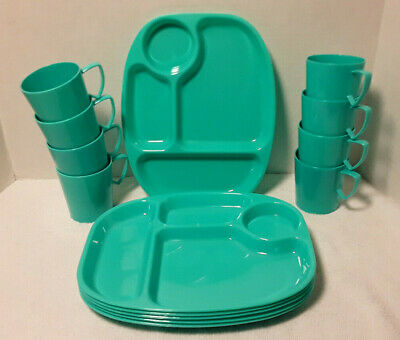 Vintage Gothamware 6 Divided Dinner Snack Plates And 8 Cups Mugs Teal Blue MCM