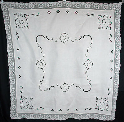 "Vintage Embroidered Linen Luncheon Tablecloth White Work Initial ""B"""