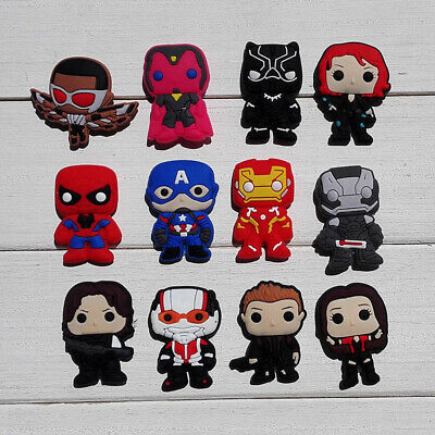 50pcs Lot the Avengers PVC Shoe Charms Buckles Fit for Shoes Band Christmas Gift