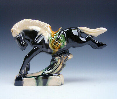 Chinese SanCai Pottery Hand Glazed Horse w/ 2 Rear Legs Up Sculpture #01281912