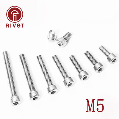 10/25/50/100pcs DIN912 M5 Stainless Steel 304 Hex Bolts Socket Cap Screws Head